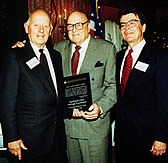 Melvin Laird, with Robert Froehlke (left) and Dr. Robert Hocking,  receiving 1st Annual Heritage Foundation Award