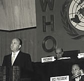 Melvin Laird speaking at World Health Organization