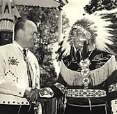 Laird Day at the Menominee Indian Fair. Melvin Laird with Jim Frechette - Chairman, Menominee Tribal Council, 1953