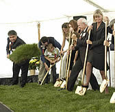 physicians and dignitaries breaking ground on the Laird Center for Medical Research